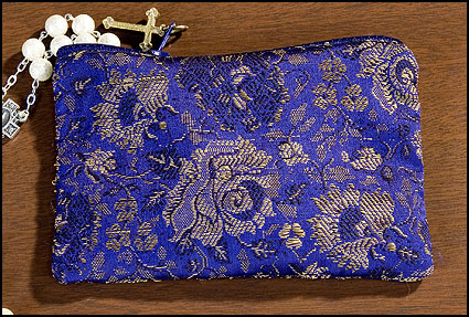 Blue Rose Brocade Rosary Case