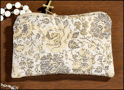 Tan Rose Brocade Rosary Case