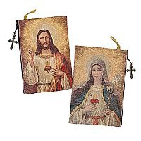 Sacred Heart of Jesus & Immaculate Heart of Mary Tapestry Rosary Case